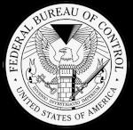 The heraldic logo for the Federal Bureau of Control in black and white, with the motto Invenio Investigatio Imperium