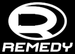 A white stylized R on black background, the logo for Remedy games